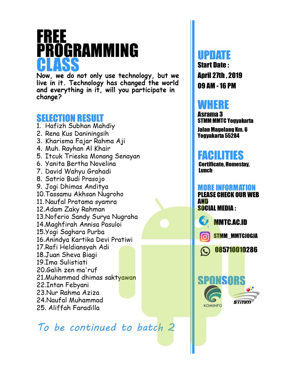 Pengumuman Hasil Seleksi Free Programming Class